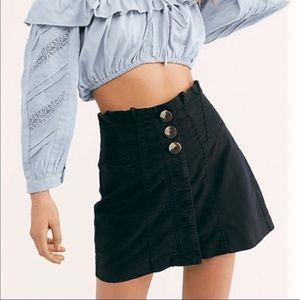 NWT Free People Every Minute Hour Black Skirt 12